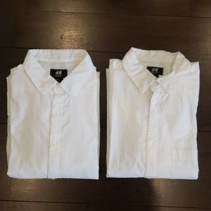 LOT OF 2 MEN'S H&M WHITE BUTTON DOWN SHIRTS